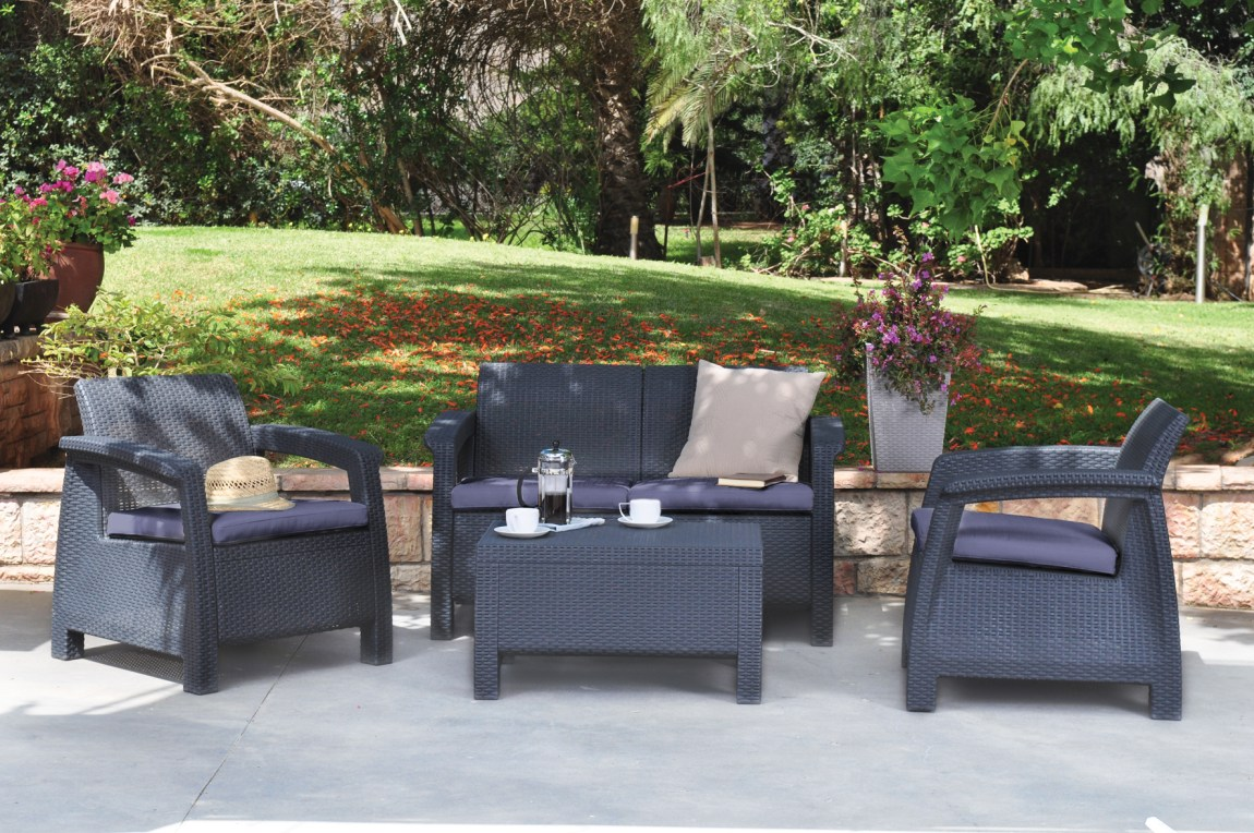 keter corfu outdoor lounge setting 619 sydney garden products. Black Bedroom Furniture Sets. Home Design Ideas