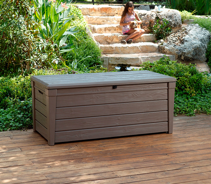 Keter Brightwood Deck Box Brown 248 Sydney Garden Products